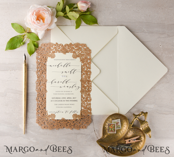 Wedding invitations 100 sets with gold lining for rsvp envelope Alicia Lazur