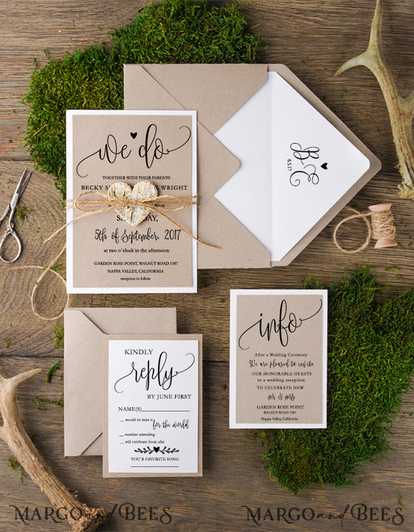 100 invitation sets with additional jute bulwrap for Lenti, Emily 9212